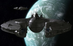 Picture stars, planet, spacestation, star wars tribute