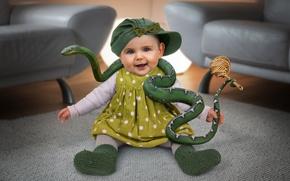 Picture snake, girl, child, tamer