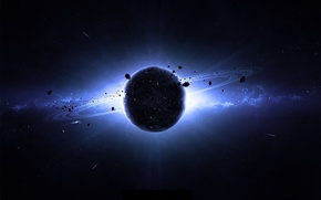 Picture space, planet, glow, ships, ring, asteroids, galaxy, planet