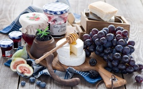 Picture berries, cheese, blueberries, grapes, bunch, jars, spoon, Board, honey, BlackBerry, jam, jam, figs, Anna Verdina