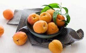 Wallpaper plate, fruit, napkin, apricots