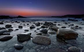 Picture sea, stones, dawn, shore, twilight