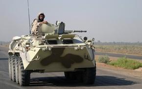 Wallpaper war, soldiers, Iraq, road, BTR-80, army