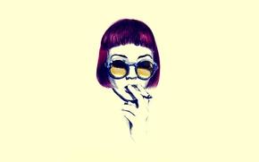 Picture eyes, girl, yellow, hair, glasses, cigarette, minimal, Smoking