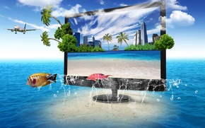Picture nature, the ocean, TV, monitor, screen