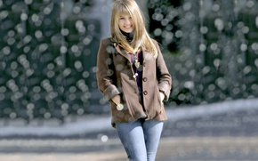 Picture girl, smile, jeans, blonde, beauty, coat, Debby Ryan