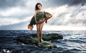 Wallpaper sea, fish, girl