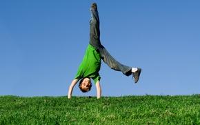 Picture grass, joy, nature, mood, fun, child, boy