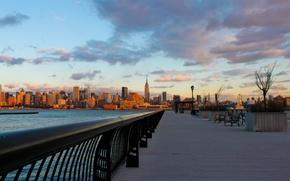 Wallpaper new york, skyscrapers, city, the city, the evening, water, new York, promenade, sunset