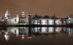Wallpaper the monastery, Novodevichy, the evening