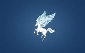 Picture minimalism, horse, wings, Pegasus, the winged horse, blue background, Pegasus, white