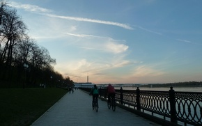 Picture the sky, people, the evening, walk, promenade, Volga