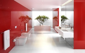 Wallpaper white, red, reflection, plant, bathroom, mirror