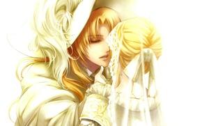 Picture pen, hat, white background, cloak, two, art, richard, closed eyes, visual novel, kagerou usuba, edel ...