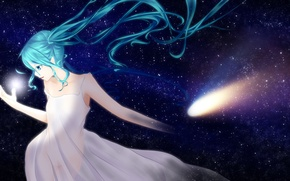 Wallpaper ponta, hatsune miku, art, anime, girl, stars, the sky, vocaloid