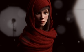 Picture girl, face, art, hood, in red, Rajbir Dhalla