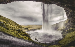 Picture nature, waterfall, Iceland, nature, waterfall, cloudy, iceland, cloudy
