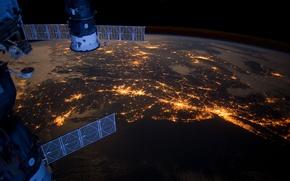 Picture lights, city, the ocean, ISS, Philadelphia, Boston, Union, Progress, North America, Pittsburgh, Atlantic