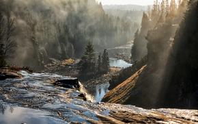 Wallpaper fog, river, morning, Canada, Ontario, Oliver Paipoonge