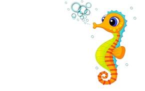Picture bubbles, art, children's, seahorse