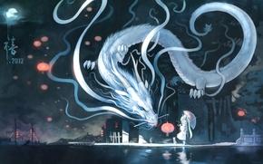Picture cat, night, the city, the moon, dragon, Marina, umbrella, art, lantern, vocaloid, hatsune miku, yuushouku