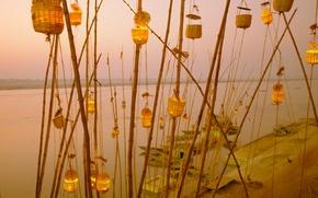 Picture India, lantern festival, Uttar Pradesh, the Ganges river