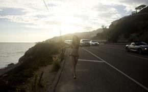 Picture car, girl, bra, road, cars, woman, model, highway, happiness, bikini, female, vehicle, vehicles, running, Jessica …