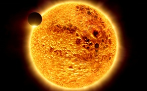 Picture the sun, space, light, planet