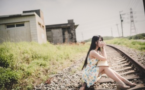 Picture road, girl, Asian