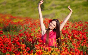 Picture field, girl, joy, smile, background, mood, positive, hands, brunette, red, widescreen, full screen, HD wallpapers, …