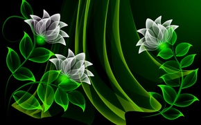 Picture flowers, vector, flowers, background, neon, neon