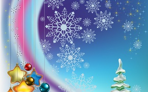 Picture stars, balls, decoration, snowflakes, balls, toys, graphics, tree, stars, Christmas, New year, tree
