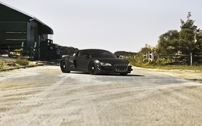 Picture road, the sky, Audi, audi, shadow, front view, black matte, matte black