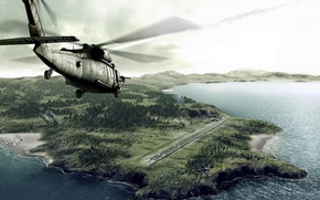 Picture landscape, coast, Helicopter, runway