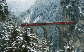 Picture snow, bridge, train, Norway, Netherlands