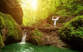 Picture forest, girl, trees, pose, waterfall, moss, Mike, yoga, in white, pants, nature, exercise