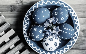 Wallpaper flowers, holiday, Board, eggs, Easter, bowl, grille, Easter, eggs