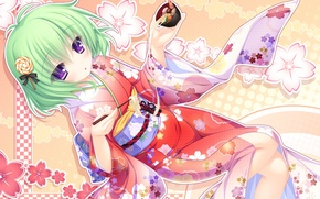 Picture girl, food, yukata, art, mikagami mamizu, justy x nasty, kagami hibiki