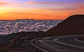 Picture road, the sky, landscape, mountains