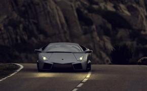 Picture road, light, mountains, lights, reventon, lamborghini