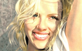 Picture smile, actress, Scarlett Johansson, blonde, painting, green eyes