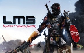 Picture weapons, blood, smoke, sparks, Warrior, armor, wounds, Last Man Standing: Killbook of a Bounty Hunter