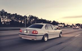 Picture bmw, BMW, speed, white, white, e38, 750il, bimmer, highway road