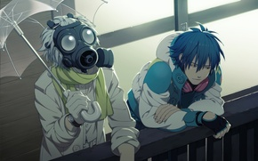 Picture umbrella, headphones, scarf, gas mask, gloves, guys, Clear, DRAMAtical Murder, Aoba