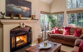 Picture sofa, picture, pillow, fireplace