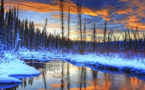 Picture winter, forest, the sky, clouds, snow, trees, landscape, sunset, mountains, river, stream