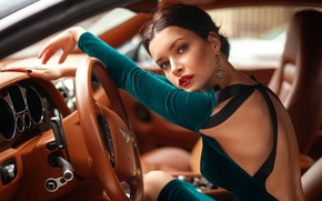 Picture auto, girl, driving, Bentley, Xenia