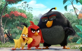Wallpaper cinema, animation, red, Red, game, black, yellow, smile, flowers, birds, cartoon, movie, series, film, cute, ...
