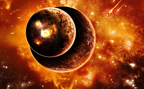 Picture two, planet, explosions, meteorites