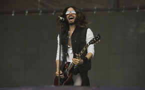 Picture scene, guitar, glasses, male, microphone, guitar, microphone, song, man, Jared Leto, Jared Leto, scene, song, …